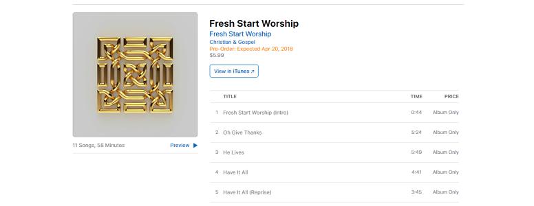Download Songs: Tracklist Fresh Start Worship Album