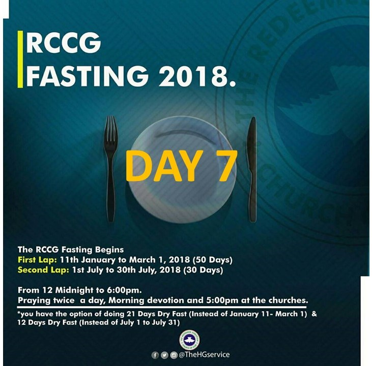 Day 7: RCCG 2018 fasting: (17th January) Prayer Points