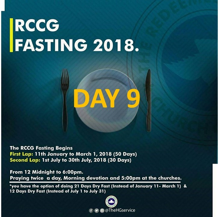 Day 9: RCCG 2018 fasting: (19th January) Prayer Points