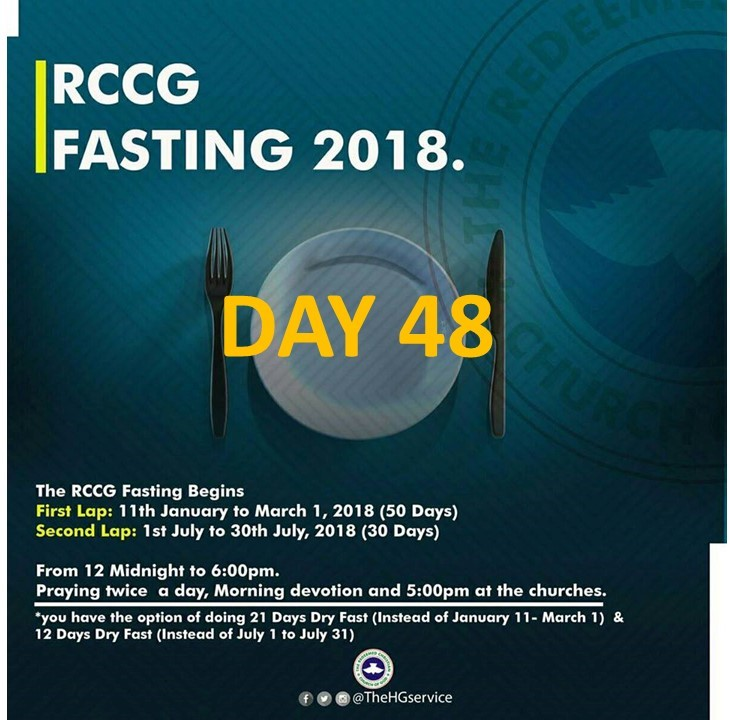 RCCG day 48 fasting and prayer points for 2018