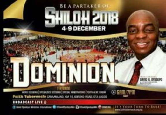 Watch Live SHILOH 2018 Dominion with David Oyedepo