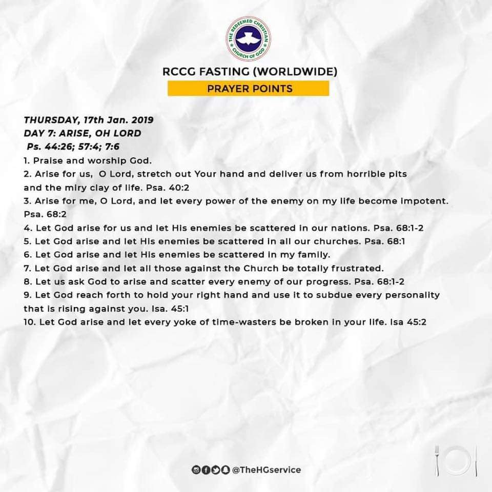 Day 7: RCCG 2019 Fasting and Prayer Points (Thursday 17th Jan)