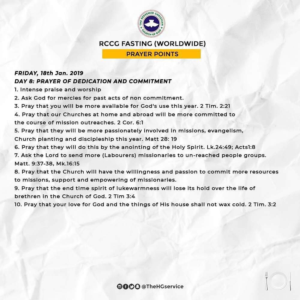 Day 8 (Friday 18th Jan) RCCG 2019 Fasting Prayer Points