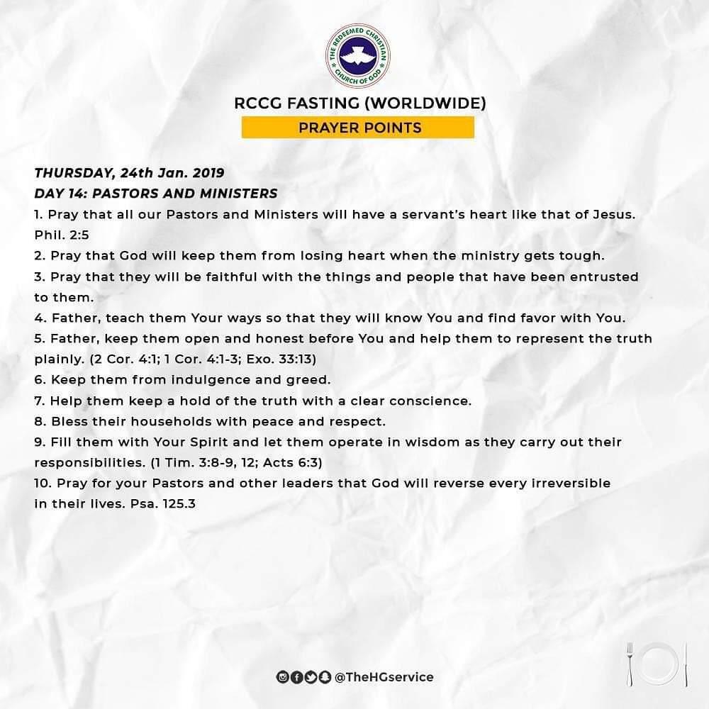 Day 14: RCCG 2019 Fasting Prayer Points – Thursday 24th Jan 2019