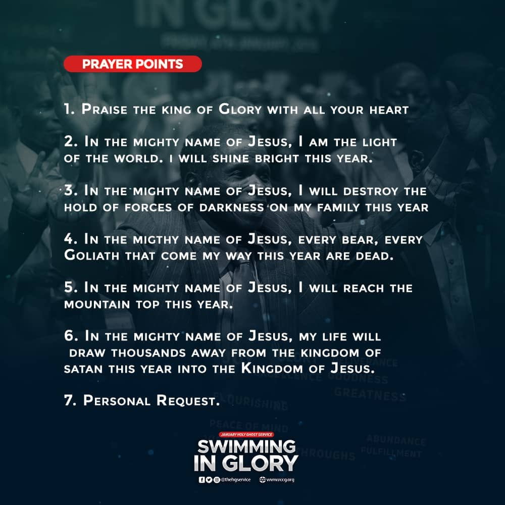 Prayer points from RCCG January 2019 Holy Ghost Service