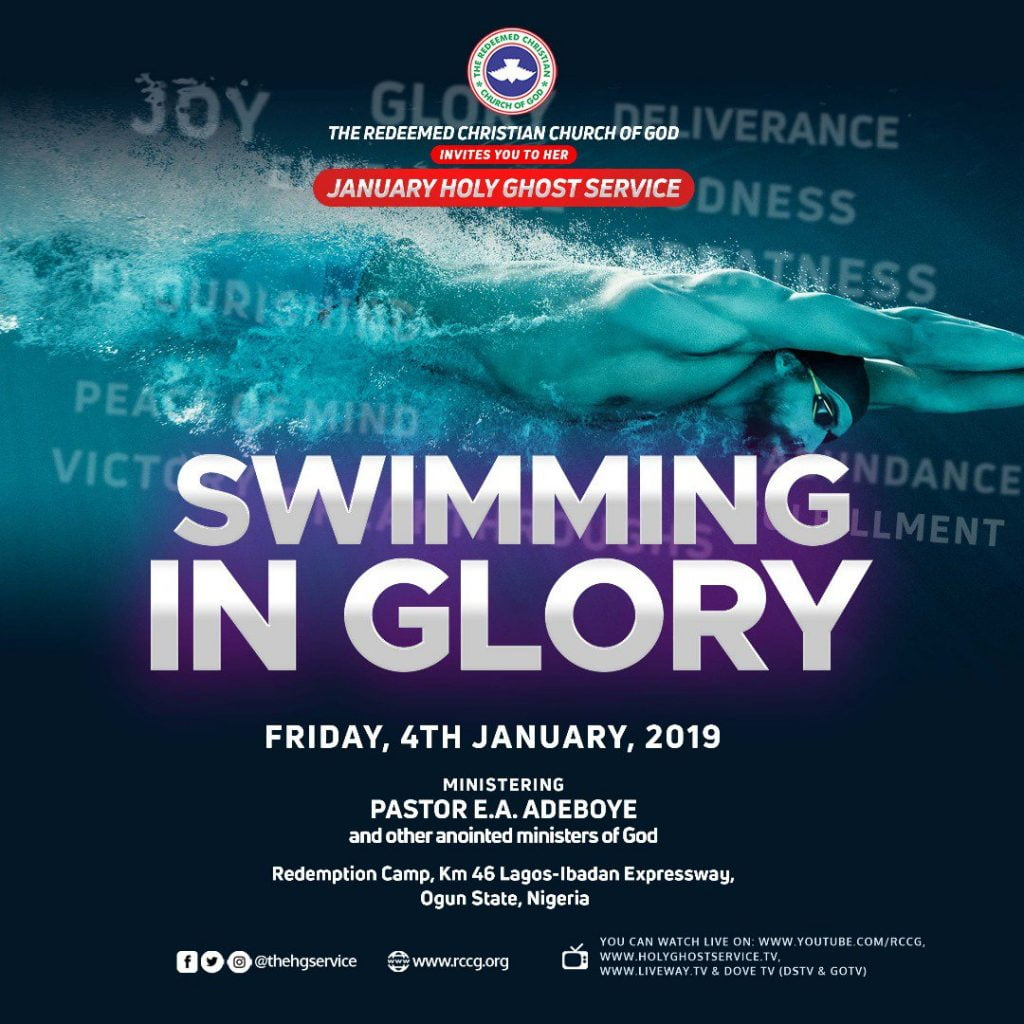 RCCG January 2019 Holy Ghost Service – Theme: Swimming In Glory » Jan 4th