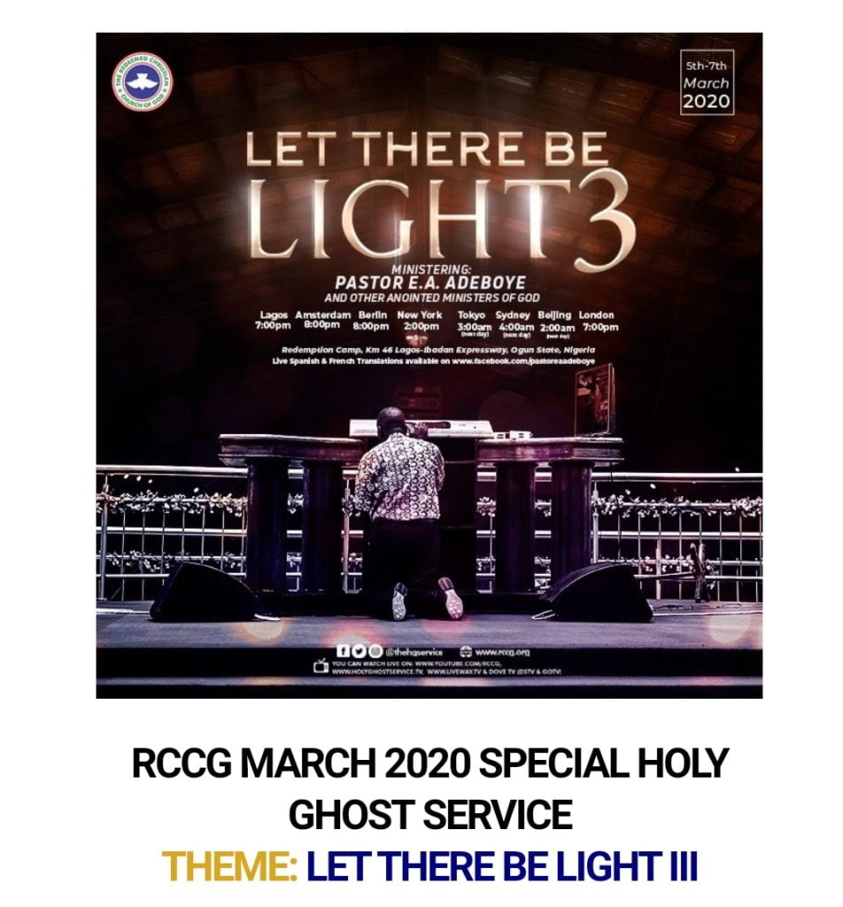 WELCOME TORCCG MARCH 2020 SPECIAL HOLY GHOST SERVICE DAY ONE - LET THERE BE LIGHT III